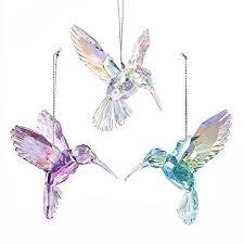 acrylic glass hummingbird ornaments pink iridescent 4 inch 3
