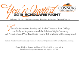 scholars night to be held for honor roll students connors state