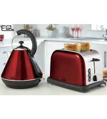 Red 2 Slice Toaster Egl Pyramid Kettle And 2 Slice Toaster Set High Gloss Red Studio