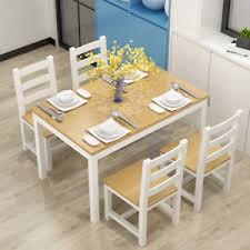 modern pine wood dining table 4 chairs set kitchen living room in