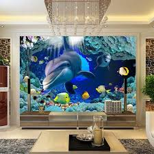 New Fashion Design D Dolphin Wall Mural Wallpaper Kids Room Wall - Kids room wall murals