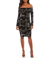 eliza j eliza j the shoulder sequin velvet dress dillards