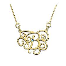 gold plated monogram necklace 18k gold plated monogram necklace with zirconia envyher