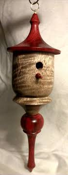 turned wood birdhouse ornament by turningsbytroy on etsy