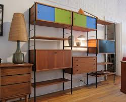 Shelving Unit Decorating Ideas Decorations Varnished Solid Wood Freestanding Modular Shelving
