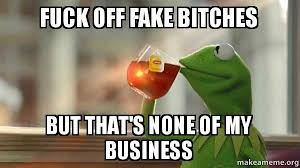 Fuck Off Memes - fuck off fake bitches but that s none of my business kermit