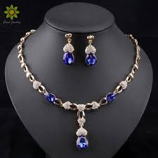 blue crystal necklace set images African wedding jewelry set gold color women dress accessories jpg