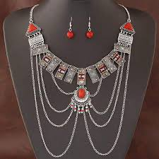african necklace earrings images African jewelry sets multi chain necklace earring ethnic super big jpg