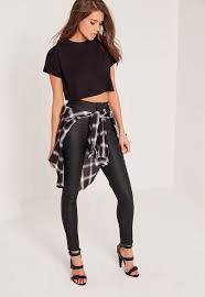 vice high waisted coated skinny jeans black missguided