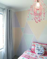 Kids Room Chandelier Kids Bedroom Feature Wall Pastel Triangles And A Chandelier Our