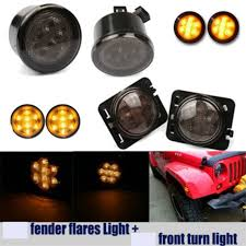 turn signal parking light assembly smoke lens yellow led front turn signal light fender side marker