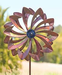 this solar led flower wind spinner garden stake on zulily