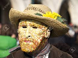 Mask Of Halloween Mask Of Sunflowers By Van Gogh On Carnival In Venice Stock Photo