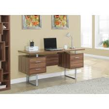 60 Inch Computer Desk Computer Desk Walnut Silver Metal 60 Inches Free Shipping