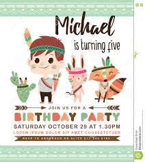 Birthday Invitation Card Kids Tribal Birthday Invitation Card Stock Vector Image 74365176