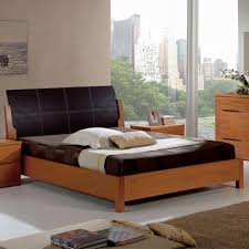 Wooden Sofa Set Designs With Price 114 Cherry Finish Bed With Leather Headboard And Wooden Slat Frame