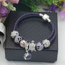 fine charm bracelet images Purple real leather chain glass crystal beads charm bracelet for jpeg