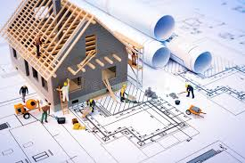 blue prints house building house on blueprints with worker stock photo image of