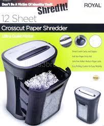 Cross Cut Paper Shredders Royal 12 Sheet Crosscut Paper Shredder 4 5 Gallon Bin