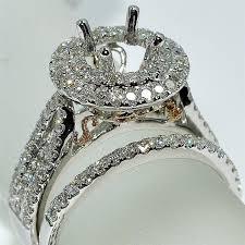 gold bridal set white gold wedding ring semi mount bridal set 1 2ct fits 1ct