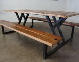 Indoor Picnic Table Custom Outdoor Indoor Exposed Edge Rustic Industrial