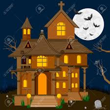 easy to edit vector illustration of haunted house in halloween