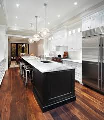 coretec flooring reviews with transitional kitchen and black and
