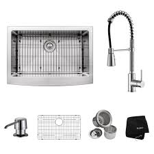 kitchen sinks and faucets kraus all in one farmhouse apron front stainless steel 30 in