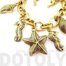 themed charm bracelet sea creatures starfish seahorse dolphins themed charm bracelet in