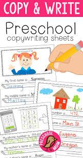 this set of free preschool copy u0026 write worksheets help teach