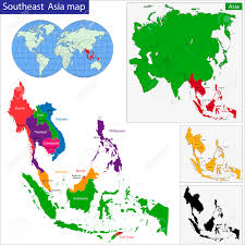 Southeastern Asia Map by Color Map Of Southeastern Asia Divided By The Countries Royalty