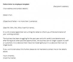 notice letter to employee template letter of notice sample