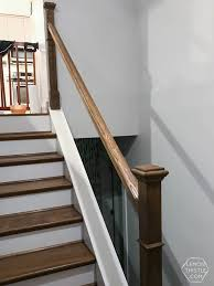 Replace Stair Banister How To Install A Wooden Handrail On Split Level Stairs Lemon Thistle