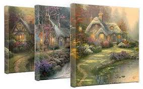 kinkade cottage collection wrapped canvases