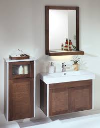 floating storage aside sink plus faucet under mirror filled on