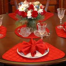Dining Room Table Placemats by Wedge Placemats Red Pintucked Wedge Shaped Round Table Placemat