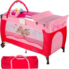 tectake portable child baby travel cot bed playpen with entryway