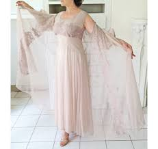 reserved for chris 1950s early 60s chiffon and lace peignoir set