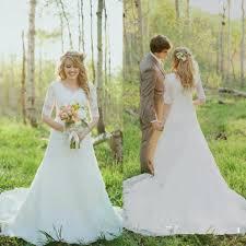 vintage wedding dresses a line sheer lace half sleeve modest