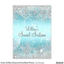 Sweet 16 Invitation Cards Sweet 16 Blue Diamond Snowflake Winter Wonderland Card Sweet 16