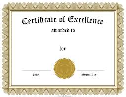 templates for award certificate printable template excellence award template