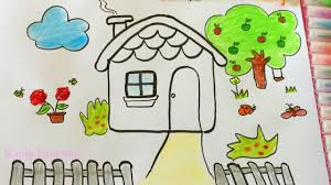 pages easy drawing and paint house how to draw by colouring water