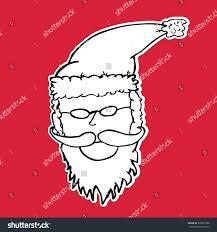 hand draw sketch santa claus face stock vector 299257988