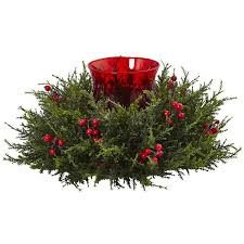 artificial cedar berry candelabrum artificial christmas centerpiece