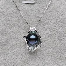 black fashion jewelry necklace images Fashion jewelry shell shaped pearl pendants 9 10mm black jpg