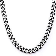 black chain necklace images Cutting edge black and natural steel flat edge curb chain jpg