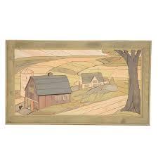 folk wood inlay wall hanging of a farm ebth