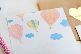 air balloon baby shower invitations