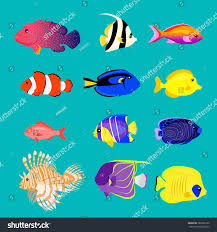 set sea fish color design flat stock vector 386662162 shutterstock