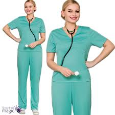ladies adults er scrubs doctor surgeon hospital nurse fancy dress